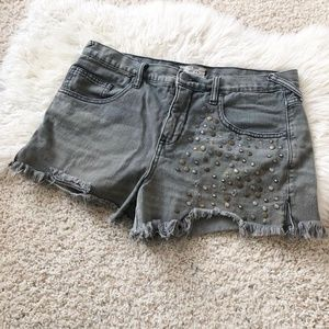 Free People Studded Gray Jean Shorts, 30